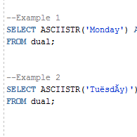 Oracle ASCIISTR Function with Examples