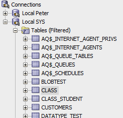 Class Table in Tree Explorer
