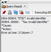 ORA-00904 invalid identifier Solution