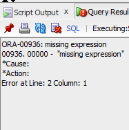 ORA-00936: missing expression Solution