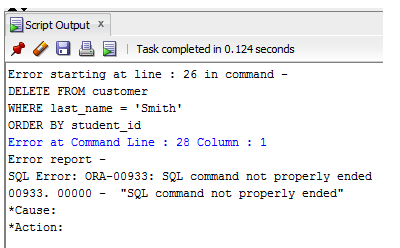 ORA-00933 SQL command not properly ended Solution